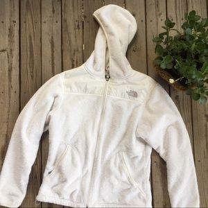White North Face hooded fleece jacket size medium